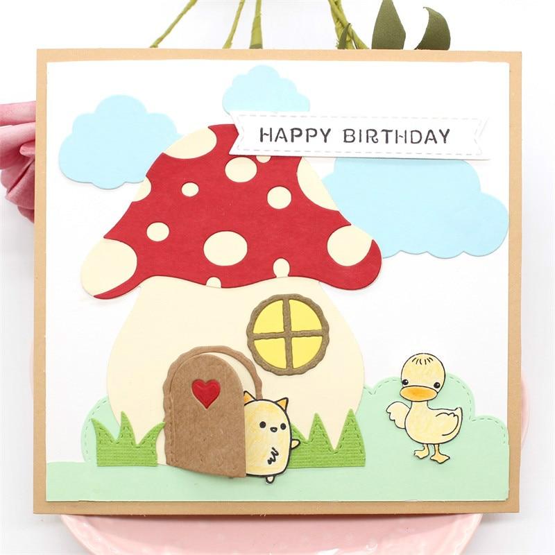 KSCRAFT Mushroom House Metal Cutting Dies For DIY Scrapbooking/Card Making/Kids Fun Decoration Supplies