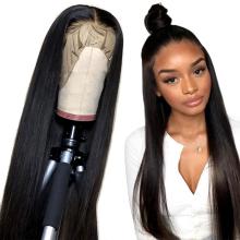 Alibele Human-Hair-Wigs Lace-Front Straight Black Women 10-24inch 150%Density Peruvian