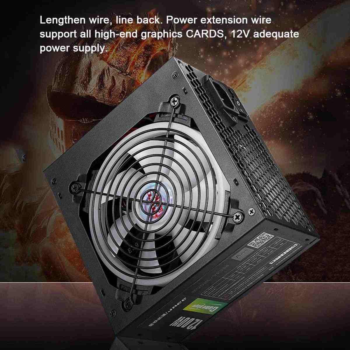 1200W zasilacz aktywny PFC 12V ATX 8PIN + 2x6PIN SATA moc PC zasilanie z wentylatorem redukcji szumów RGB na komputer stacjonarny