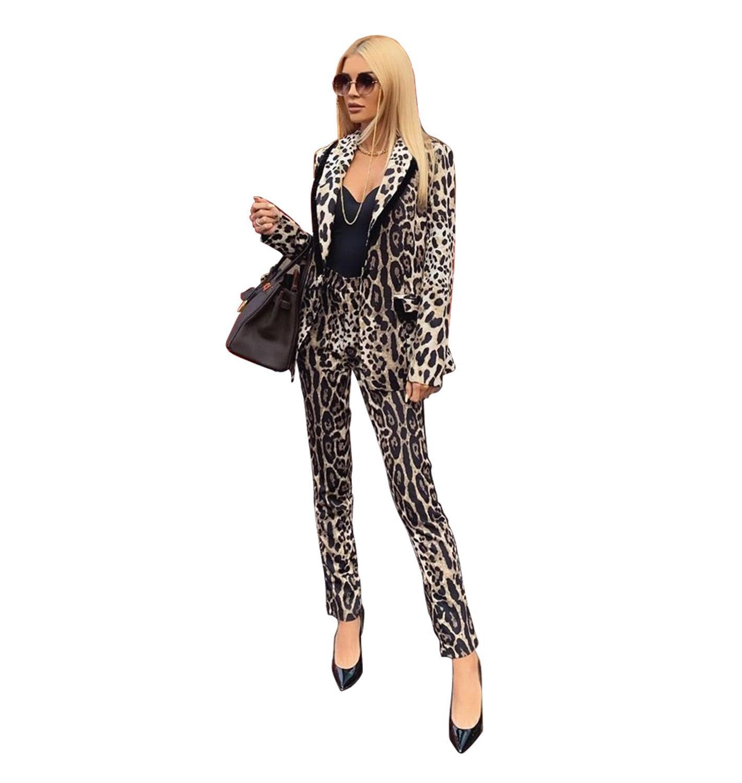 Echoine Leopard Print Women Suit Autumn Long Sleeve Jacket Ladies Blazer Set OL Pant Suits For Women Club Outfits Costume Femme