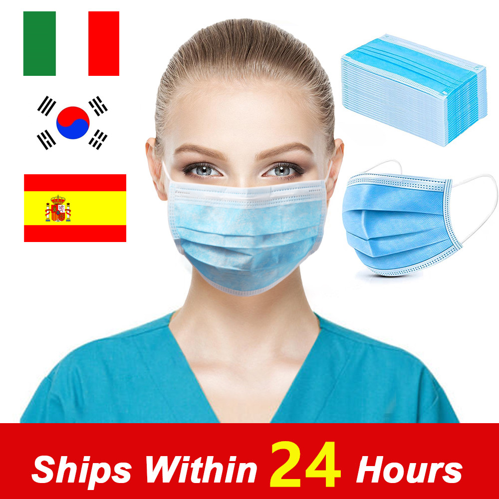 In Stock 100Pcs Disposable Mask 3 Layer Face Mouth Masks Safety Protective Masks Dustproof To Prevention Germs Fast Shipping