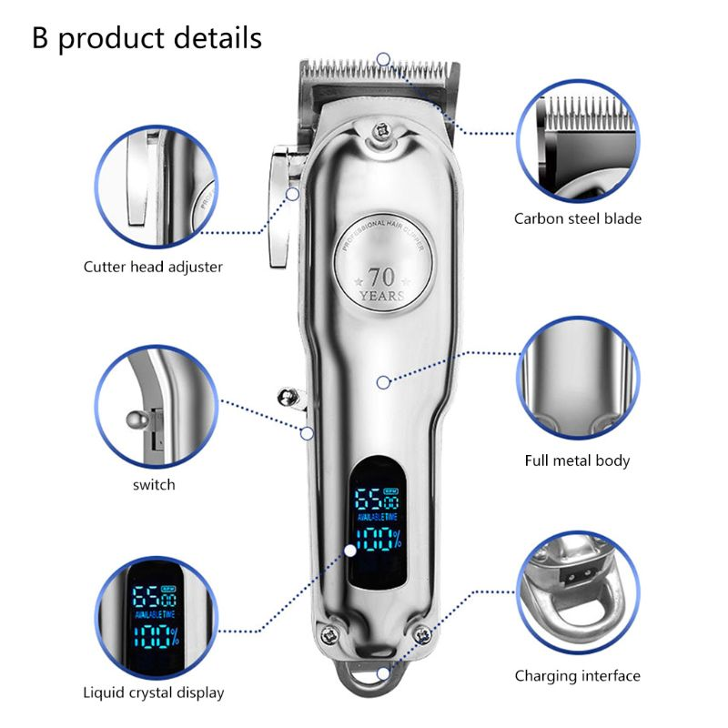 Professional Electric Hair Clippers Men Beard Trimmer Barber Grooming Kit Rechargeable Cordless Haircut Machine