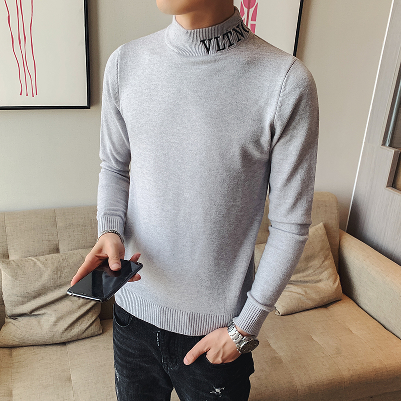 2019 Autumn Men's Sweater Korean Version Self-cultivation Half-high Collar Long-sleeved Casual Tide Pullover Chinese Style Gray