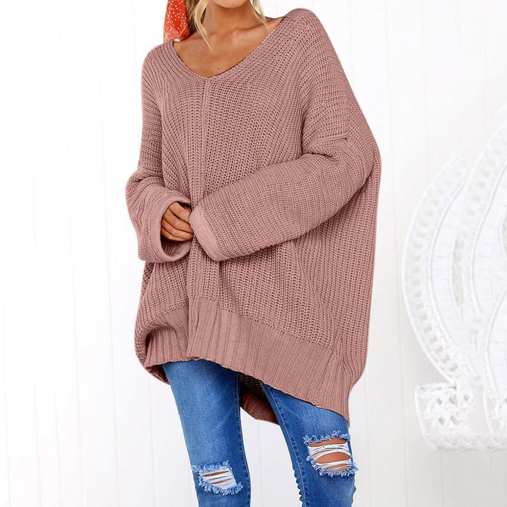 Dujujunyi Lazy Loose Women's Sweater Solid Long Sleeve Jumper Pullover Blouse Casual V-Neck Pure Color Female Sweater Tops