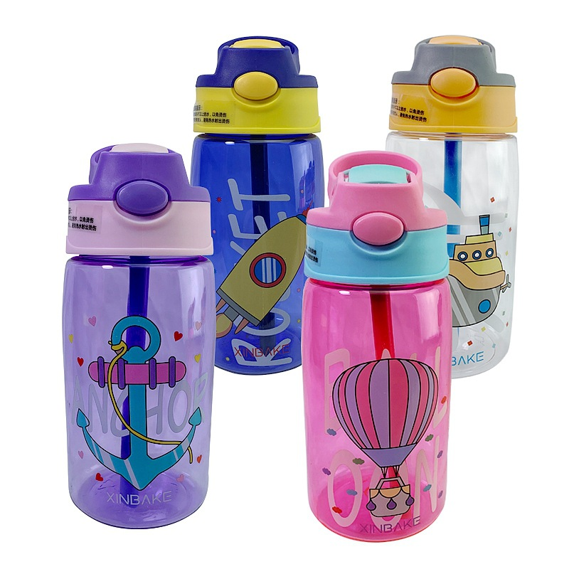 480ML Creative Cartoon Baby Kids Feeding Cups With Straws Cups Leakproof Water Bottles Outdoor Portable Children's Cups