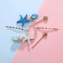 Holiday Style Hair Clips Beach Alloy  Simple FashionStarfish Shell Pattern Hairpins 3pcs/set