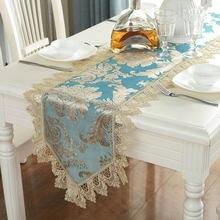 Винтажная синяя скатерть с вышивкой и кружевной отделкой европейский