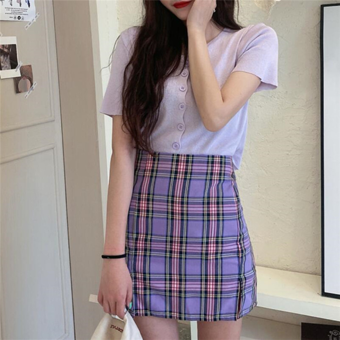 He56df811e8fc49f5baa9df6e10d7cb75X - Korean Colored Plaid Skirt Women Student Chic Short Skirts Fashion Sexy Mini Skirts Spring Summer Female Skirts