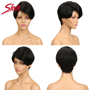 Image 5 - Perruque complète Machine pour femmes noires, perruque brésilienne complète Remy rapide, cheveux humains courts, brun, 100%, perruque coupe Pixie, bon marché