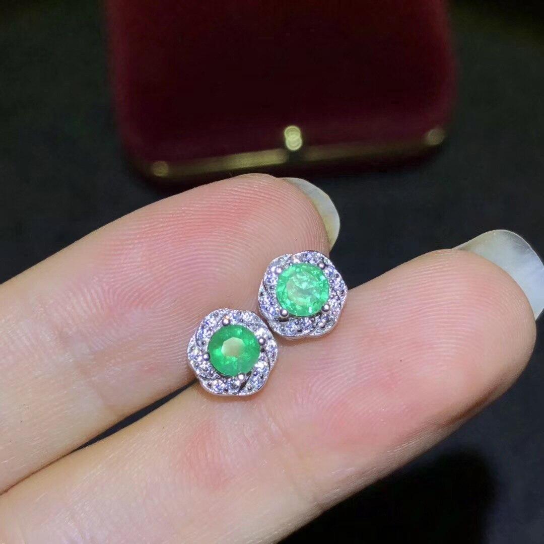 BOEYCJR émeraude S925 en argent Sterling créatif bijoux de fête élégant boucles d'oreilles pour les femmes cadeau