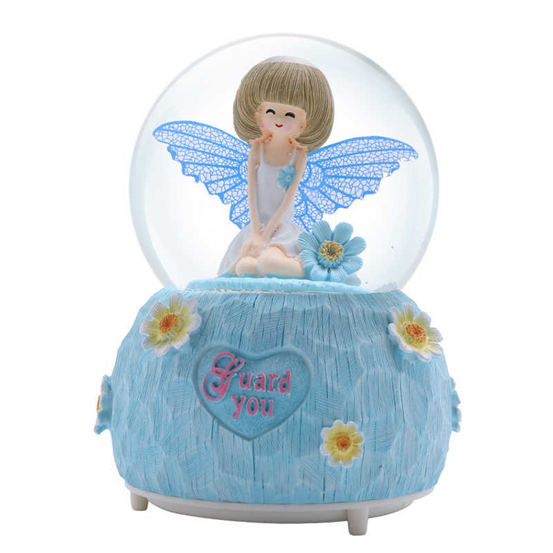 Guardian Angel เพลงกล่อง Lover ของขวัญวันวาเลนไทน์ Surprise ตกแต่งบ้าน Figurine Miniature คริสตัลบอลลูก Fairy Girl CRAFT