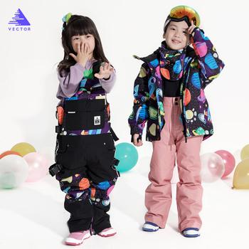 Wektor profesjonalna kurtka narciarska dla dzieci spodnie ciepłe wodoodporne chłopcy dziewczęta Outdoor narciarstwo snowboard WinterKids tanie i dobre opinie Dobrze pasuje do rozmiaru wybierz swój normalny rozmiar CN (pochodzenie) HXF70044 HXF70045 W stylu rysunkowym COTTON Boys Girls