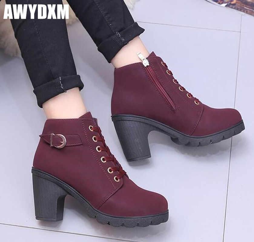 Yeni kadın Ayak Bileği Martin çizmeler Sonbahar Kalın Yuvarlak Ayak dantel kadar rahat ayakkabılar pompaları yan zip kar patik kadın yüksek topuklu m071