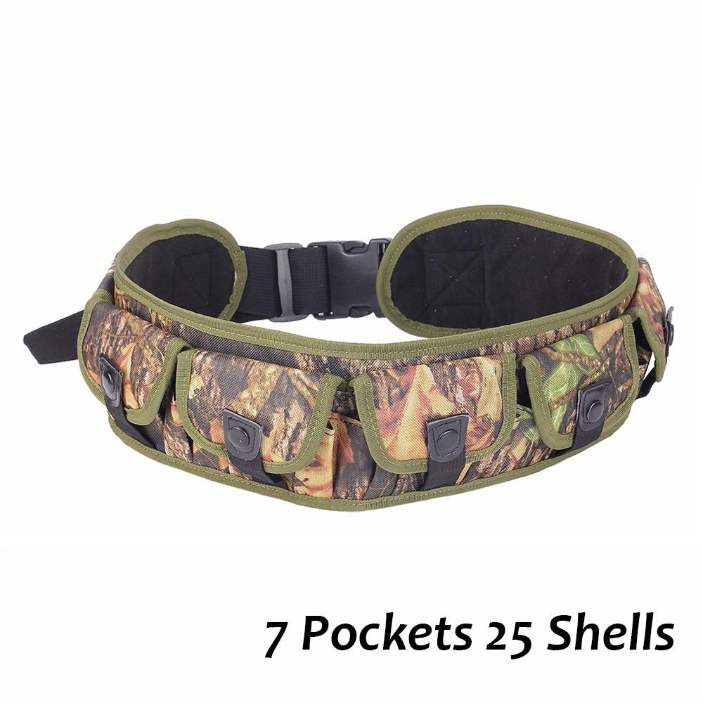 25 Rounds Tactical Belt Camo Concealed Hunting Shooting Shell Holder Ammo Carrier 12GA Bandolier 7 Pockets Waist Bag Bullet Case
