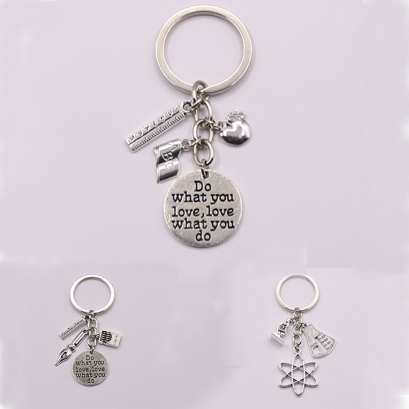 1pcs Apple Charms Words Microscope Biological Unique Keychains Biology Chemistry Teacher Gift Keyring