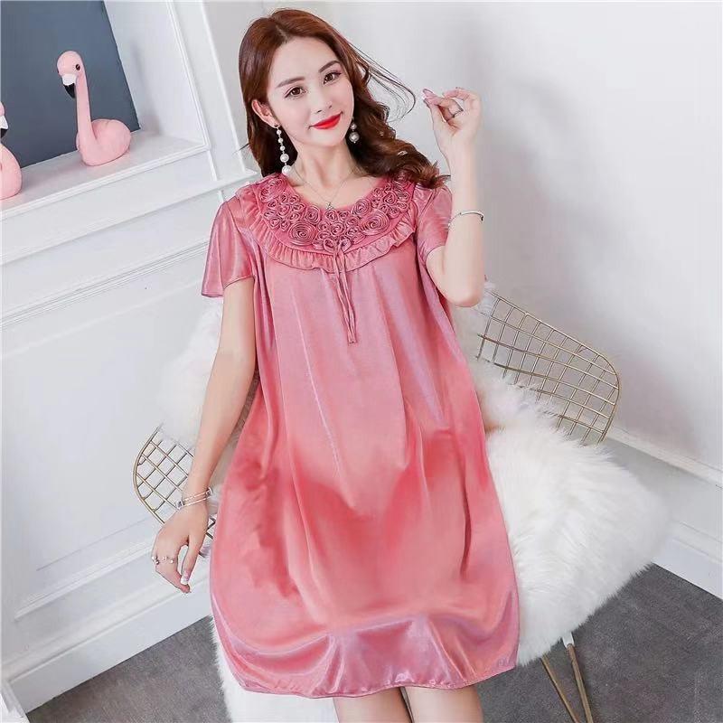 Women Nightgowns Sexy Satin Silk Soft Nightwear Plus Size S-XL Lace Sleepwear Dress Sexy Lingerie Robe Mini Homedress Nightdress 5