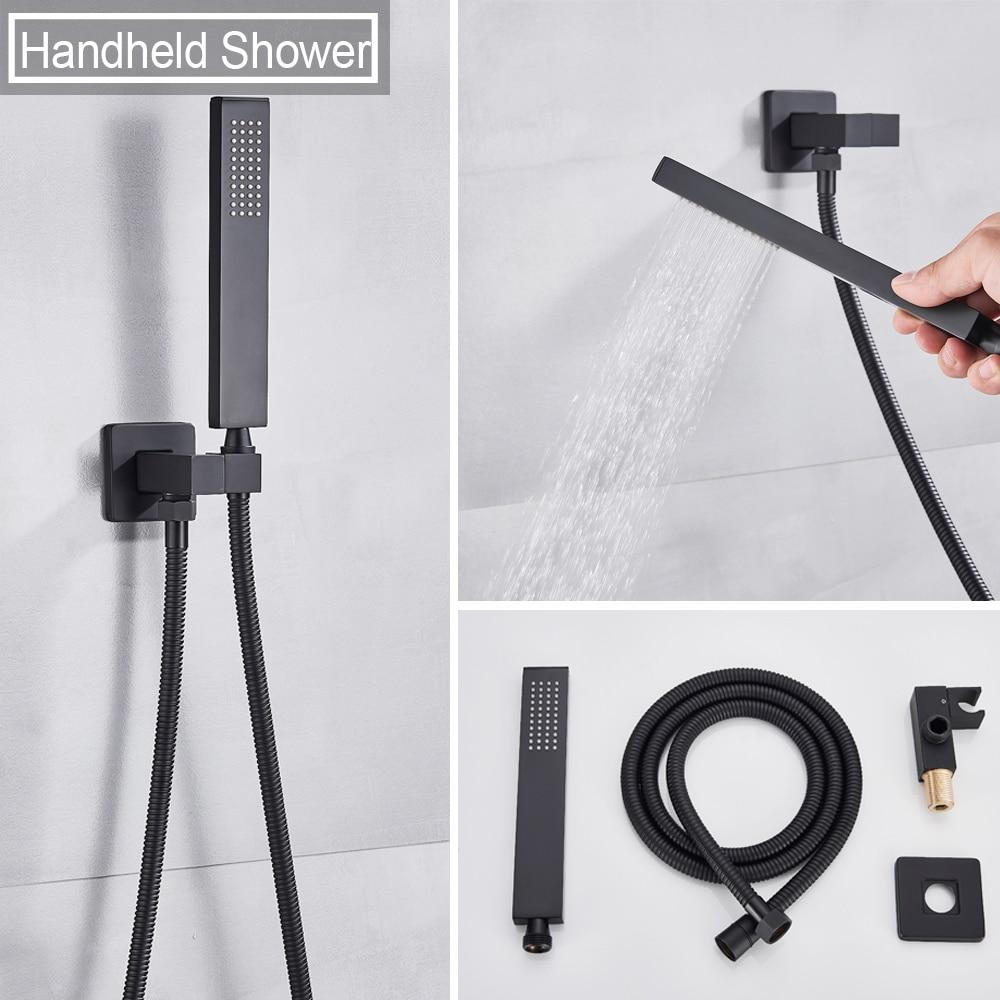 He56e5c873b144da489760532e2d13a46O Waterfall Matte Black Bathroom Shower Faucet Black Digital Shower Faucets Set Rainfall Shower Head Digital Display Mixer Tap