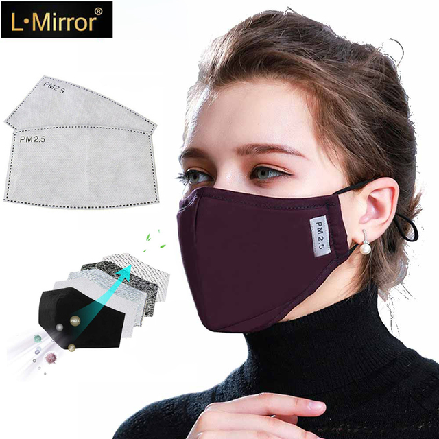 L.Mirror Cotton PM2.5 Mouth Mask Anti-dust Mask Activated Carbon Filter Windproof Mouth-muffle Bacteria Proof Flu Face Masks New