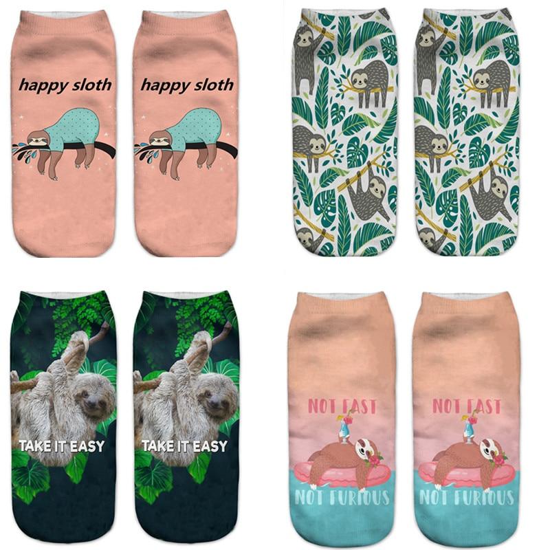 New Summer Sloth Socks, 3d Animal Print, Cartoon Art, Novelty, Colorful Sloth Shorts, Hipster Street Style Kawaii Women Socks