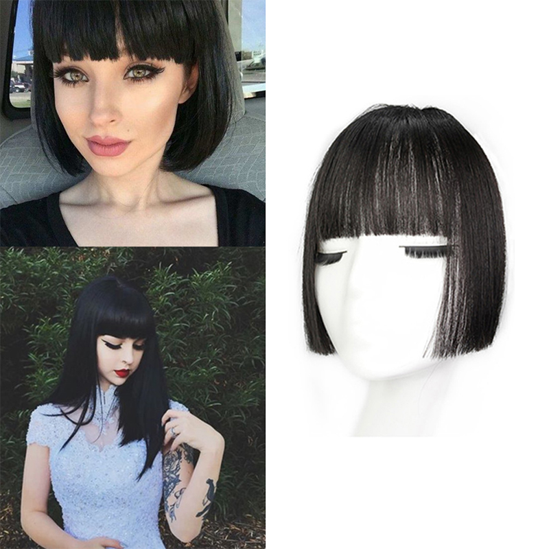 Hime Cut Clip on Bangs Fringe Clip Bangs Dark Brown Clip In Extensions Bang Remy Human Hair Beautiful Princess Hair Bangs