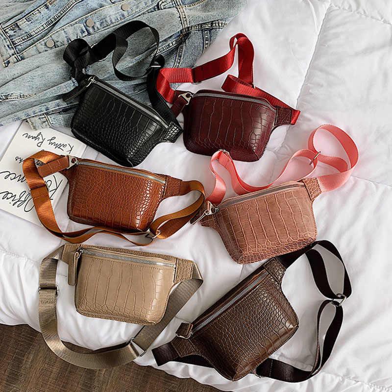 Bolso de cintura de cuero con patrón de cocodrilo para mujer bolso de cinturón ins Disco riñonera bolsa monedero pequeño viaje Hip Pack bum