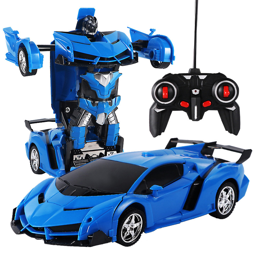 1:18 Electric Remote Control Car1 Button Remote Control Deformable Vehicle Robot Kids Toys Robots Birthday Christmas Gifts