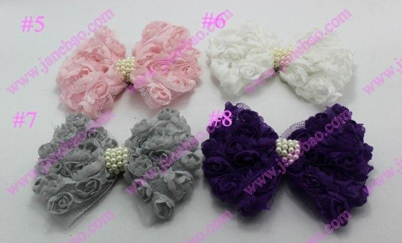 45 шт./лот, разные цвета, кружевные и маленькие розочки, Украшенные бусинами и бантом, цветы для волос, лента для волос