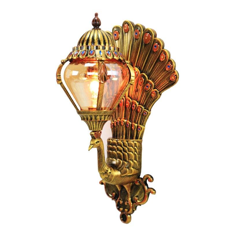 Роскошные европейские Настенные светильники с изображением павлина в стиле