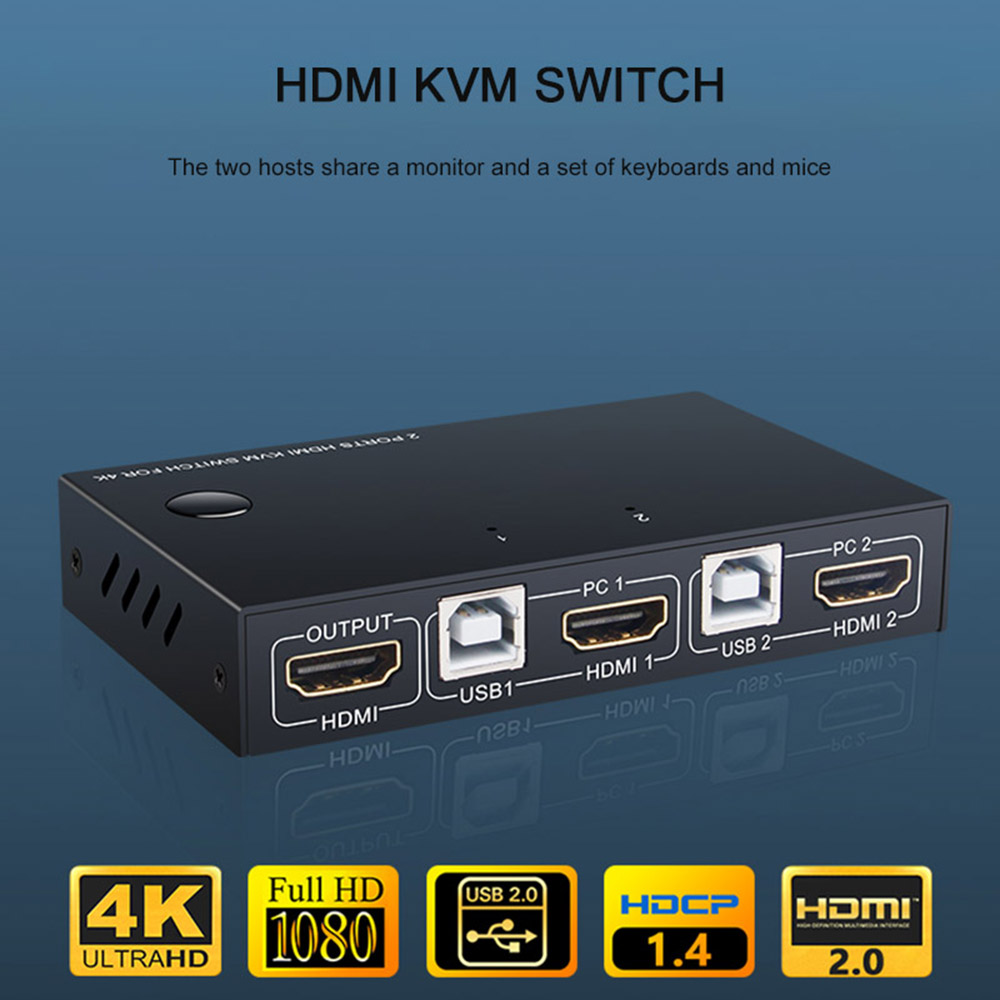 USB HDMI KVM Switch Box 2 Ports 4K Video Display USB Switch KVM Splitter Box For 2 PC Sharing Keyboard Mouse For Printer Home