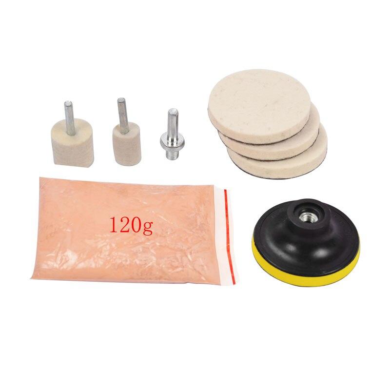 8Pcs 120g Ceroxid Glas Polieren Pulver Kit Für Tiefe Kratzer Entferner für Windschutzscheibe Windows Glas Reinigung Scratch entfernung