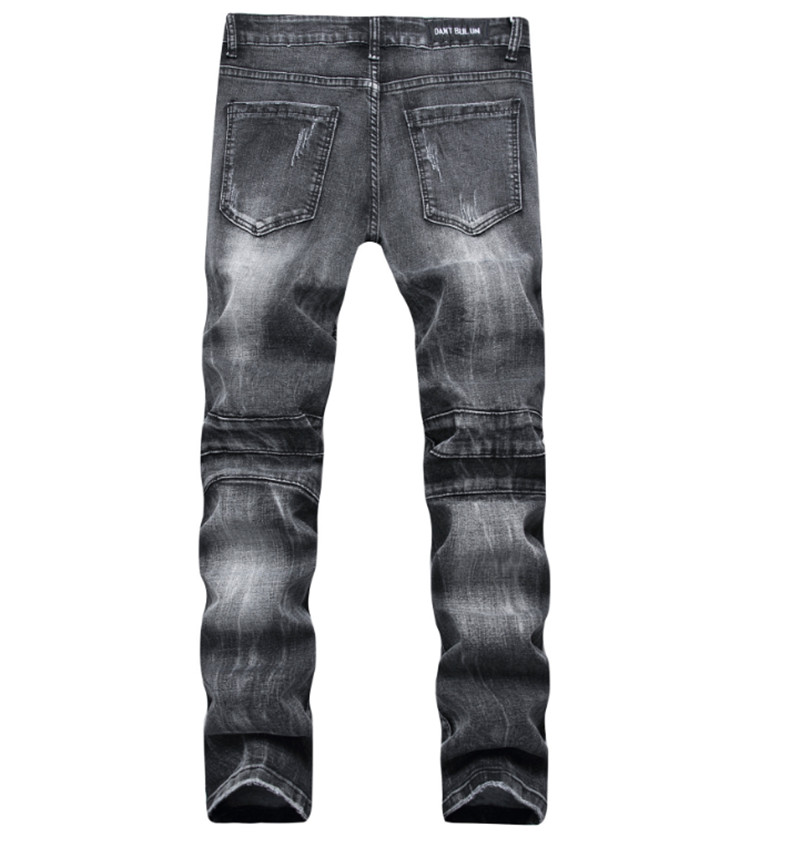 2019 ripped slim biker men jeans destroy men hole blue jeans pants hip hop style motorcycle denim trousers dropshipping jeans in Jeans from Men 39 s Clothing