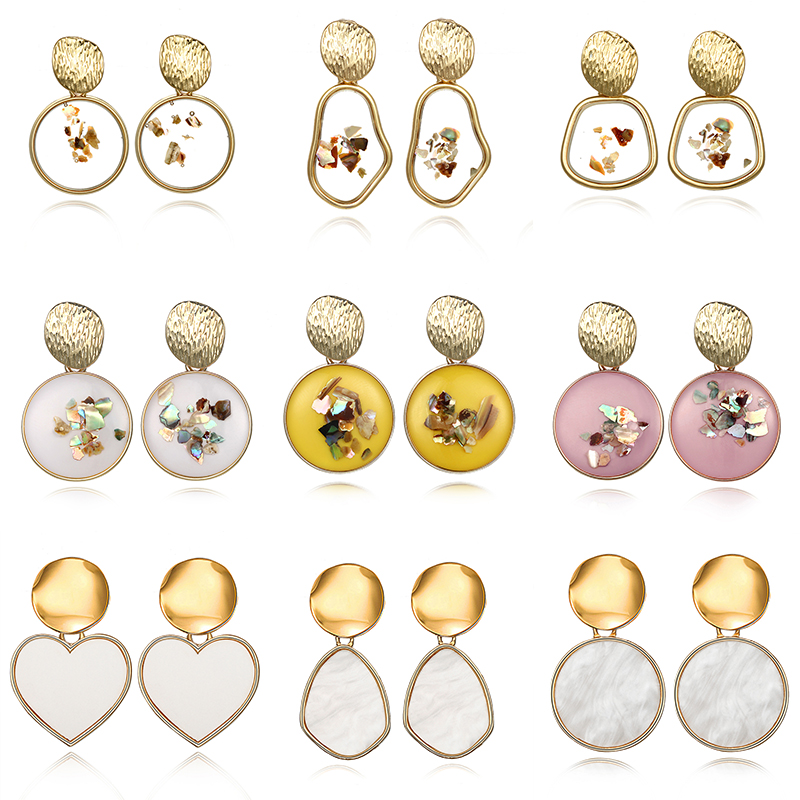 New Delicate Minimalism Shell Earrings For Women Irregular Transparent Acrylic Resin Tortoise Jewelry Brincos Christmas Gift