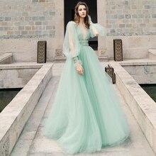 Verngo 2021 한국 Tulle 라인 긴 댄스 파티 드레스 퍼프 슬리브 V 넥 바닥 길이 파티 드레스 레이디 공식 드레스 Vestido De Gala