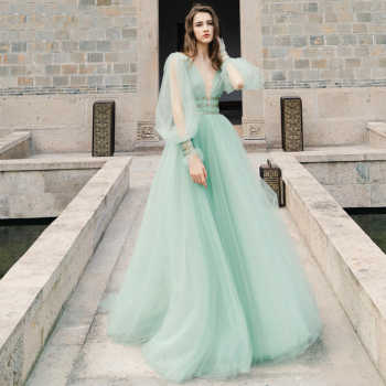 Verngo Green Tulle Aline Prom Dress 2019 Fashion Backless Party Dress V-neck Evening Party Gowns Ruff Sleeve Vestido De Gala - Category 🛒 Weddings & Events