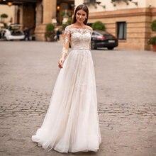 Очаровательные свадебные платья трапеции с вырезом лодочкой