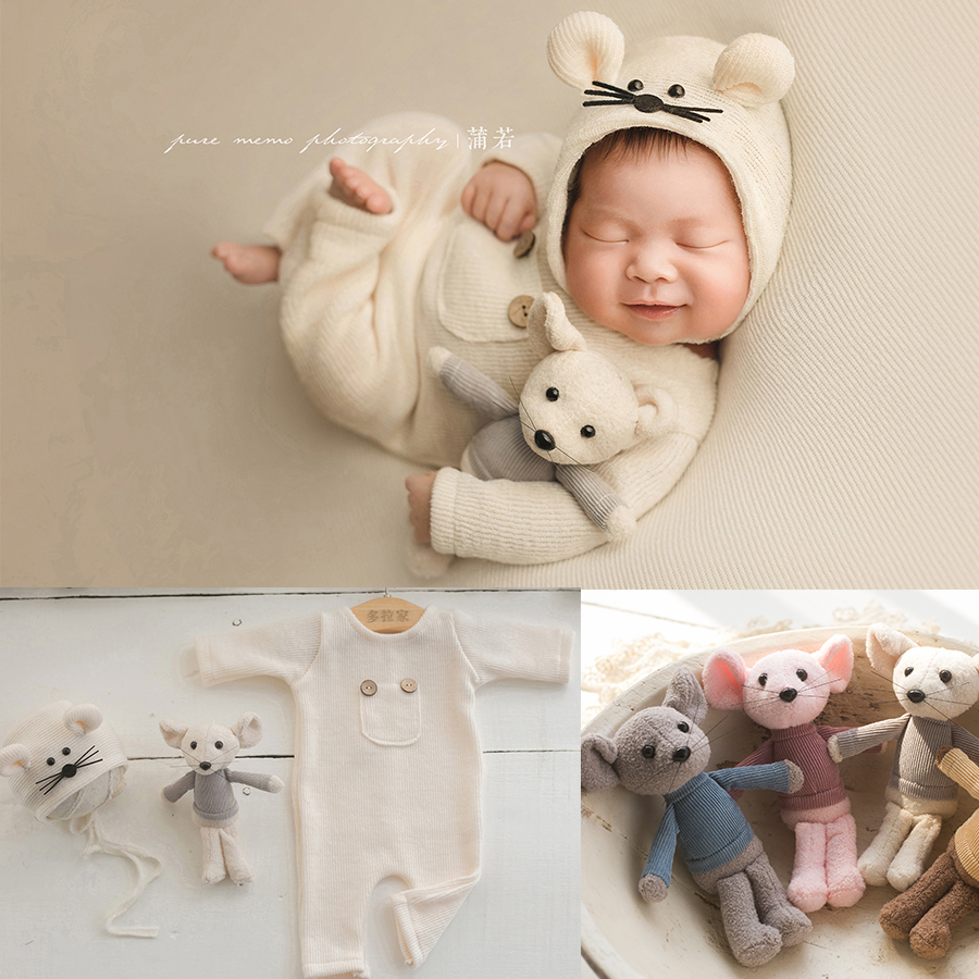 Newborn Mouse Clothes Baby Photography Props,Baby Mouse Romper Hat Doll Set Newborn Studio Accessories,#P2523