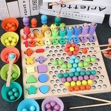 Деревянная образовательная игрушка Монтессори Детская рыбалка