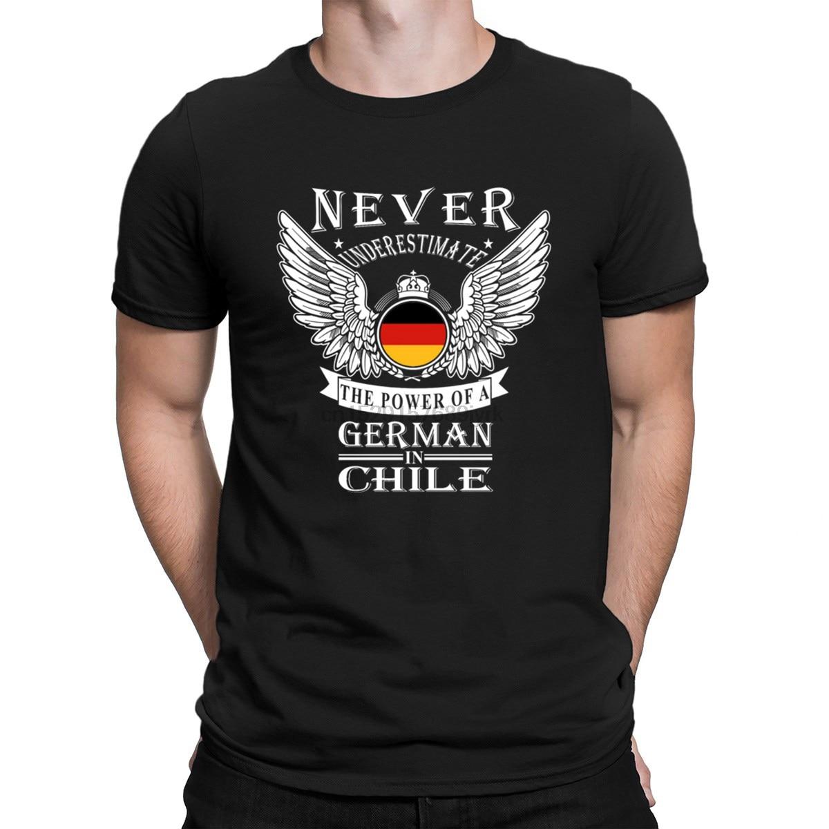 Niemiecka moc niemieckiego w Chile Tshirt Kawaii hiphopowy top Gents 2018 prosta koszulka dla mężczyzn rodzina wokół szyi charakter