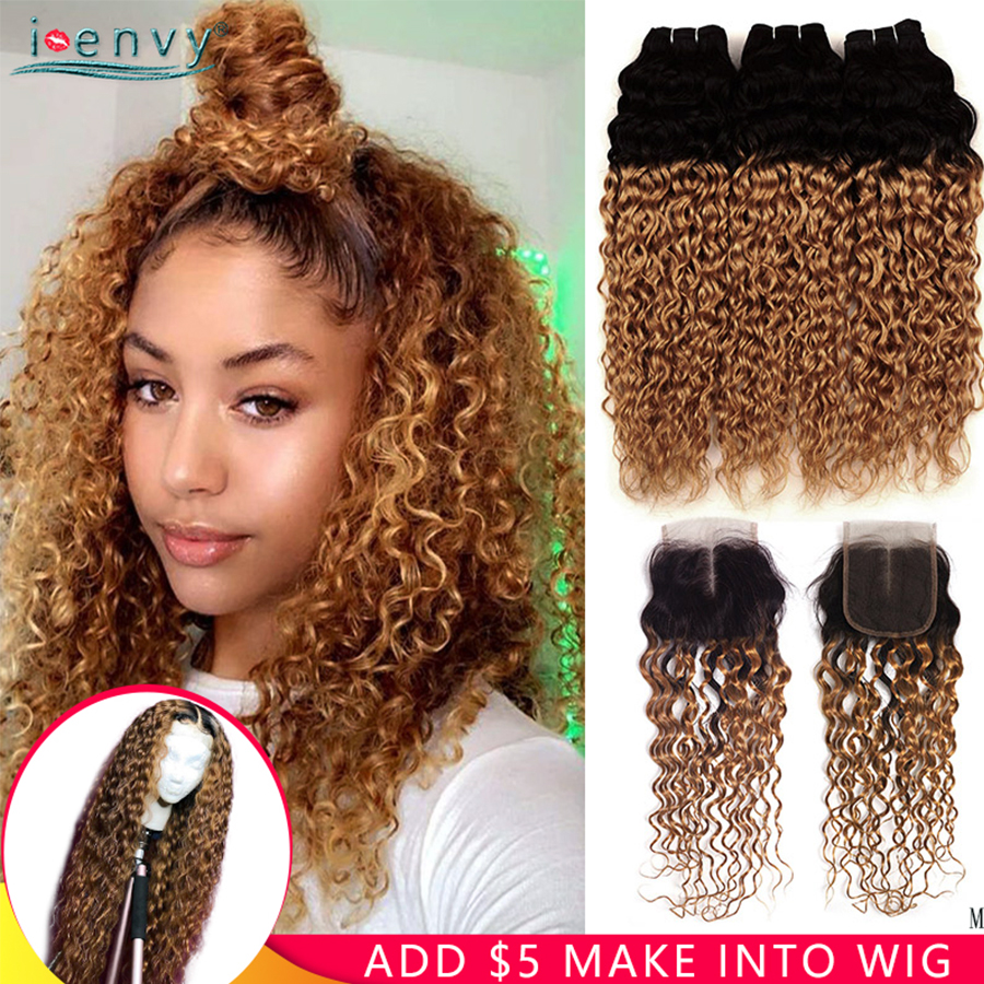 Ienvy Water Wave Bundles With Closure Ombre Blonde Human Hair Bundles Peruvian Hair Weave Bundles With Closure Colored Remy Hair