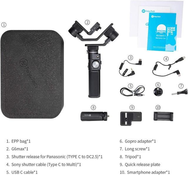 FeiyuTech G6 Max Camera Stabilizer Handheld Gimbal for  Mirrorless camera Pocket Camera GoPro Hero 8 7 6 5 Smartphone