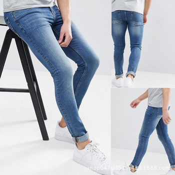 Solid Blue Jeans for Man Slim Fit Denim Pencil Pants Classic Male Skinny Jean Designer Casual Stretch Jean Trousers Men Fashion 2016 new arrived men s biker jeans bule casual slim distressed denim hiphop pant for male hots jean designer skinny trousers