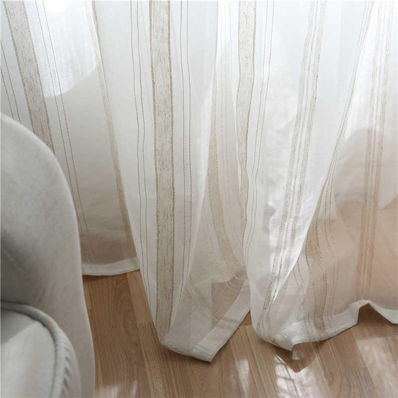 Moderna Tenda di trasporto di Tulle Per Soggiorno A Righe bianco tenda di Finestra Tende tende di lino finestra del balcone garza ombra finestra dello schermo