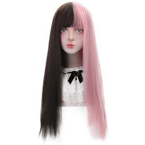 Darmowe piękno długie proste syntetyczne naturalne czarne dziecko różowe fioletowe włosy blond peruki z tępym grzywką dla Lolita czeski Cosplay
