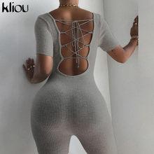 Kliou backless drążą sexy romper kobiety letnie ubrania playsuits solidna letnia moda z krótkim rękawem klub partywear strój