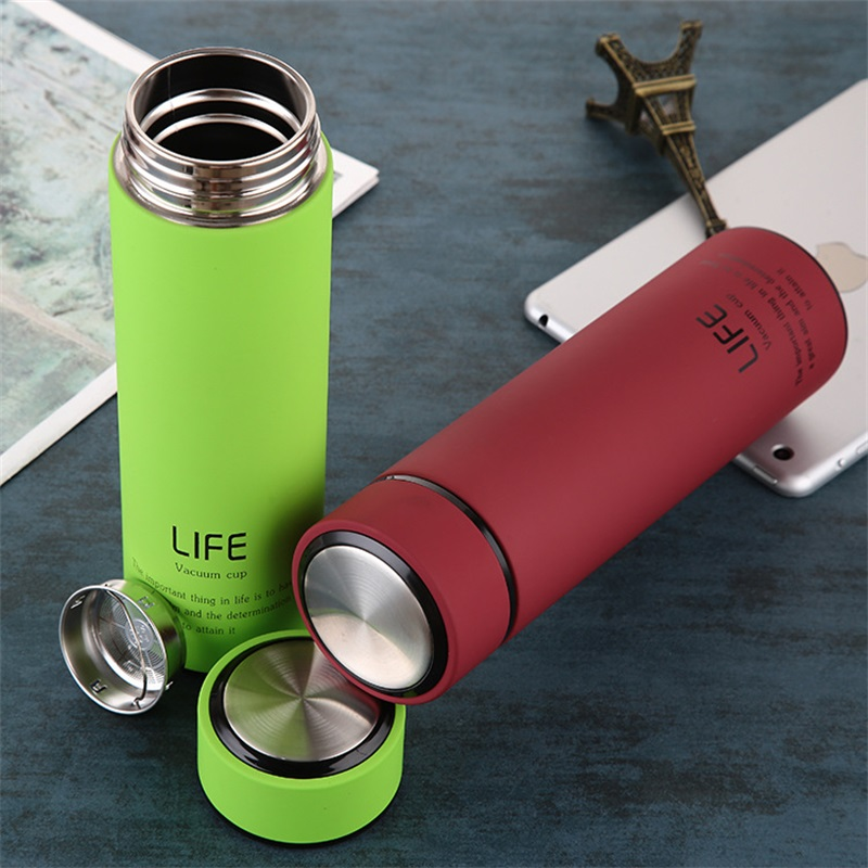 ZOOOBE 500ML Thermal Flask and Thermos Tea Bottle with Filter Cover Made of 304 Stainless Steel