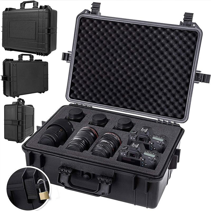 Waterproof Safety Sealed Case Instrument Protective Hidden Safes Box Shockproof Portable Big Suitcase W/sponge Plastic Tool Box
