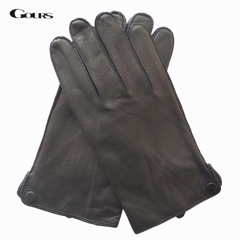 GOURS Genuine Leather Winter Gloves For Men Fashion Black Real Goatskin Warm Hand Driving Gloves 2019 New Mittens GSM048