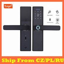 Serrure de porte intelligente Tuya APP, déverrouillage à distance par empreinte digitale, WiFi, électronique pour porte de Garage en fer et bois
