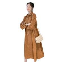Вельветовая свободная модная осенняя одежда с длинными рукавами размера плюс платье для беременных женщин повседневные теплые однотонные рубашки платья