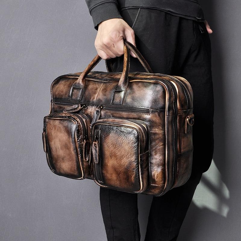 Men Real Leather Antique Design Business Travel Briefcase Laptop Bag Fashion Attache Messenger Bag Tote Portfolio Male K1013-or